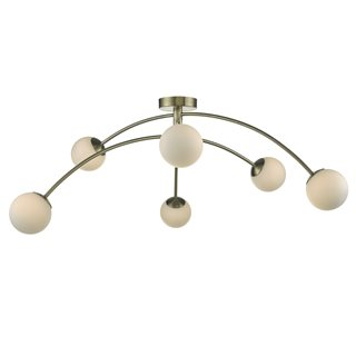 Puglia Adjustable Antique Brass and Opal Semi Flush Ceiling Pendant