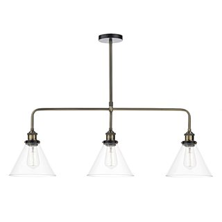 Ray 3 Light Antique Brass Bar Pendant