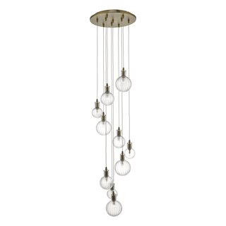 Dita 10 Light Brass & Glass Cluster Pendant