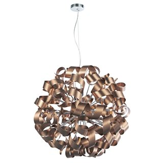 Rawley Satin Copper Twisted Ribbon 12 Light Pendant