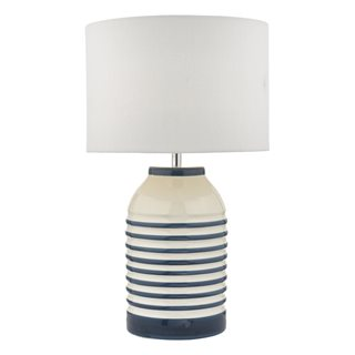 Zabe White & Blue Table Lamp (With Shade)