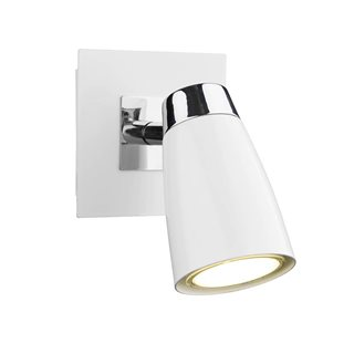 Loft Polished Chrome / Matt White Wall Spotlight
