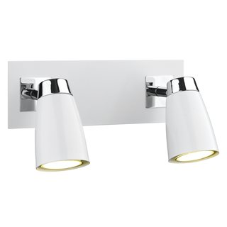 Loft 2 Light Polished Chrome / Matt White Wall Spotlight