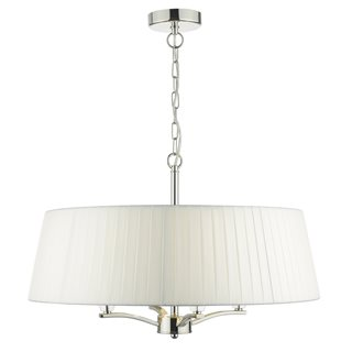 Cristin Polished Nickel and Ivory Ribbon 4 Light Pendant (with Shade)