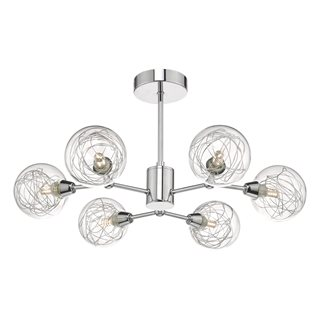 Tyka Polished Chrome & Glass Semi Flush Ceiling Light