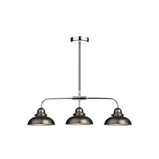 Dynamo Three Light Antique Chrome Pendant