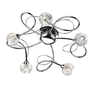 Zelda 5 Light Polished Chrome Flush Ceiling Light