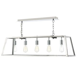 Academy Stainless Steel Glass 5 Light Pendant