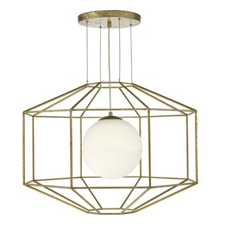 Izmir Hexagonal Gold Effect Opal Glass Light Pendant