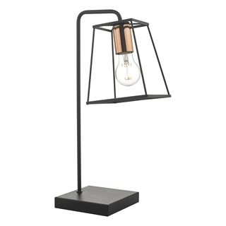 Tower Black & Copper Table Lamp