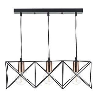 Midi Black and Polished Copper 3 Light Pendant