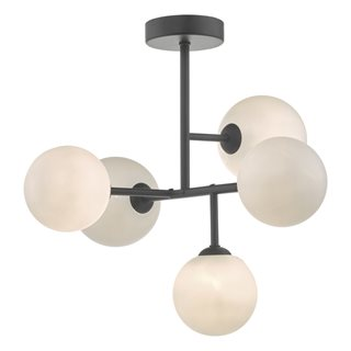 Euan Black & Opal Glass Semi Flush Ceiling Light