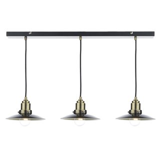 Hannover Antique Brass and Black 3 Light Pendant