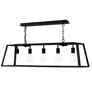 Academy Black Glass 5 Light Pendant