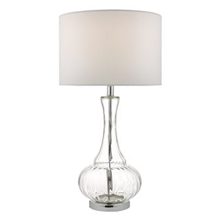 Lapsley Clear Glass & Polished Chrome Table Lamp (With Shade)
