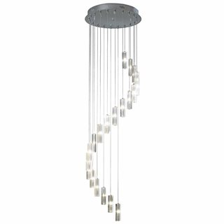 Galileo Polished Chrome 20 Light Stair Cluster 2M Drop Pendant