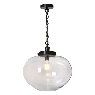 Pelios Bronze and Clear Ribbed Glass Light Pendant