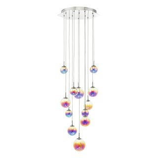Cesario Polished Chrome & Multi Colour LED 12 Light Cluster Pendant