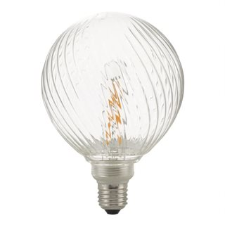 Clear Ribbed Globe LED Dimmable Pendant Kit